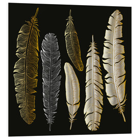 Foam board print  Feathers in Gold and Silver