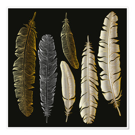 Premium poster  Feathers in Gold and Silver