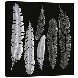Canvas print  Feathers in silver