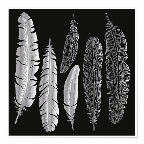 Premium poster Feathers in silver