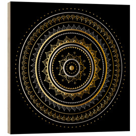 Wood print  Mandala on black