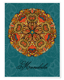 Premium poster Mandala on blue