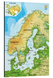 Aluminium print  Map of Scandinavia