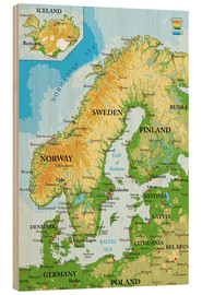 Wood print  Map of Scandinavia