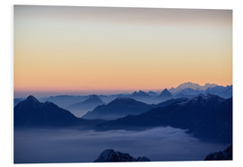 Foam board print  Distant mountain layers at sunrise. View from Brienzer Rothorn over swiss alps - Peter Wey