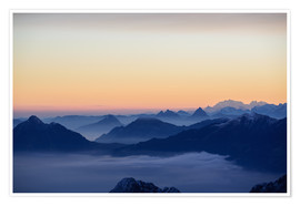 Premium poster Distant mountain layers at sunrise. View from Brienzer Rothorn over swiss alps