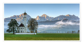 Premium poster  Church St. Coloman in Allgaeu autumn - Michael Valjak