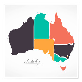 Premium poster Australia map modern abstract with round shapes