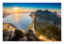 Premium poster View from Beautiful Segla Mountain, Senja, Norway