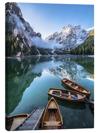 Canvas print  Early morning on Lake Braies, Dolomites - Achim Thomae