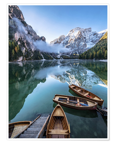Premium poster Early morning on Lake Braies, Dolomites