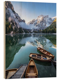 Wood print  Early morning on Lake Braies, Dolomites - Achim Thomae