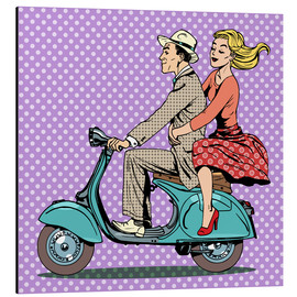 Aluminium print  Couple on a scooter