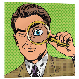 Acrylic print  Detective with magnifying glass