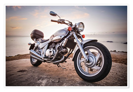 Premium poster Motorbike by the sea