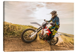 Canvas print  Enduro rider on the coast