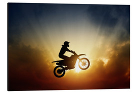 Alu-Dibond  Biker jumping at sunset