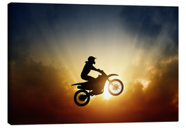 Canvas print  Biker jumping at sunset
