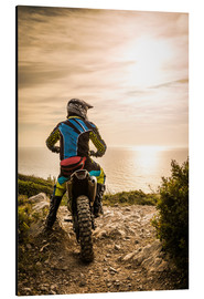 Aluminium print  Enduro racer on the coast