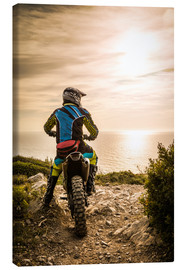 Canvas print  Enduro racer on the coast