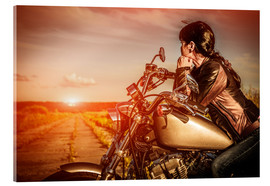 Acrylic print  Biker girl on her motorcycle