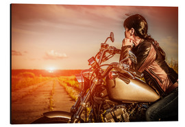 Aluminium print  Biker girl on her motorcycle