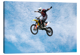 Canvas print  Motorcycle racer jumping