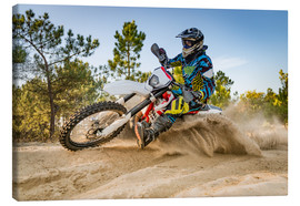Canvas print  Enduro biker on sand terrain
