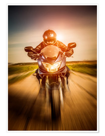 Premium poster Biker racing on the road