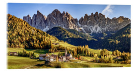 Acrylic print  Funes in the Dolomite Alps in autumn, South Tyrol - Italy - Achim Thomae
