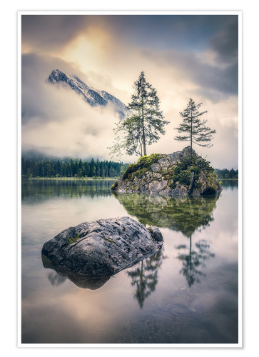 Premium poster Silence at Hintersee (Berchtesgaden)