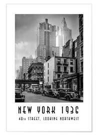 Premium poster Historic New York: Manhattan, 48th street, looking northwest
