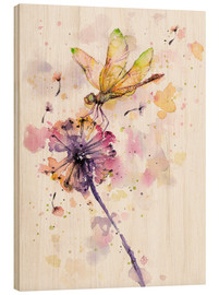 Wood print  Dragonfly & dandelion - Sillier Than Sally