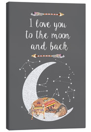 Canvas print  I love you to the moon and back - GreenNest