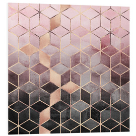 Foam board print  Pink And Grey Gradient Cubes - Elisabeth Fredriksson