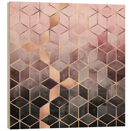 Wood print  Pink And Grey Gradient Cubes - Elisabeth Fredriksson