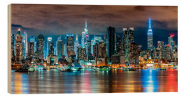 Wood print  Midtown Skyline by Night, New York - Sascha Kilmer
