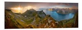 Foam board print  Panoramic View from Husfjellet Mountain on Senja Island during Sunset, Noway - Markus Ulrich