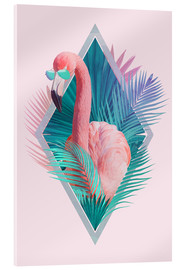 Acrylic print  Tropical leaves with flamingo - Robert Farkas