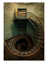 Premium poster Spiral staircase in an old building