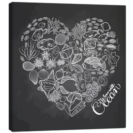 Canvas print  Heart made of shells and fish