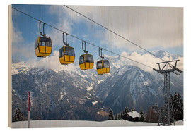 Wood print  Cable car in the Alps