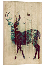 Wood print  Deer in the Wild - Sybille Sterk