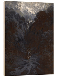 Wood print  Sir Lancelot Approaching the Castle of Astolat - Gustave Doré