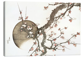 Canvas  Plum blossom and the moon - Katsushika Hokusai
