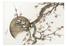 Foam board print  Plum blossom and the moon - Katsushika Hokusai