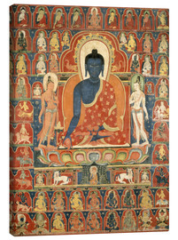 Canvas  Painted Banner (Thangka) with the Medicine Buddha (Bhaishajyaguru) - Tibetan School