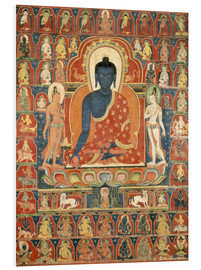 Foam board print  Thangka with the Medicine Buddha - Tibetan School