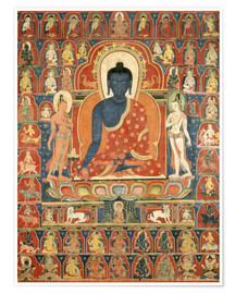 Premium poster  Thangka with the Medicine Buddha - Tibetan School