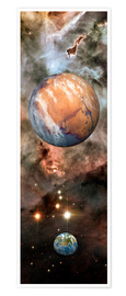 Premium poster Alien planets and Carina Nebula